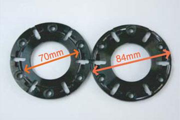 凸部の直径のサイズで判別(70mmなら70T)